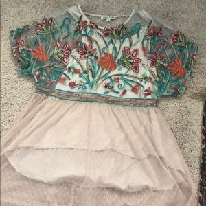 Tan flowy embroidered top, long